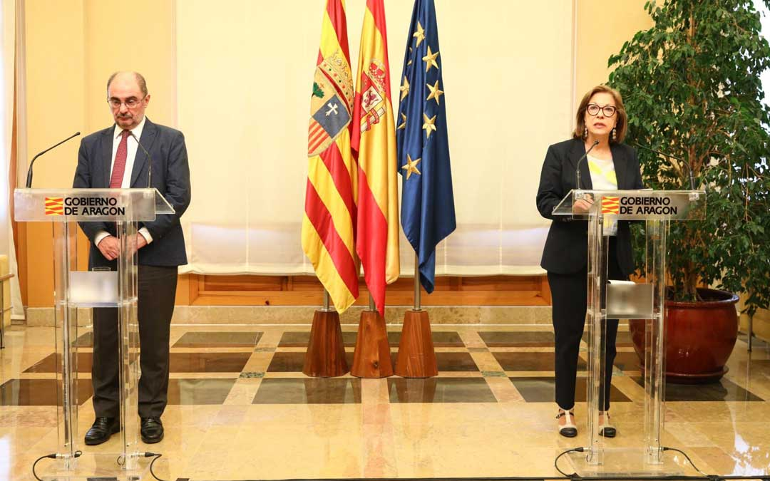 Ventura ha comparecido con el presidente Lambán en una rueda de prensa en la que no han aceptado preguntas / DGA