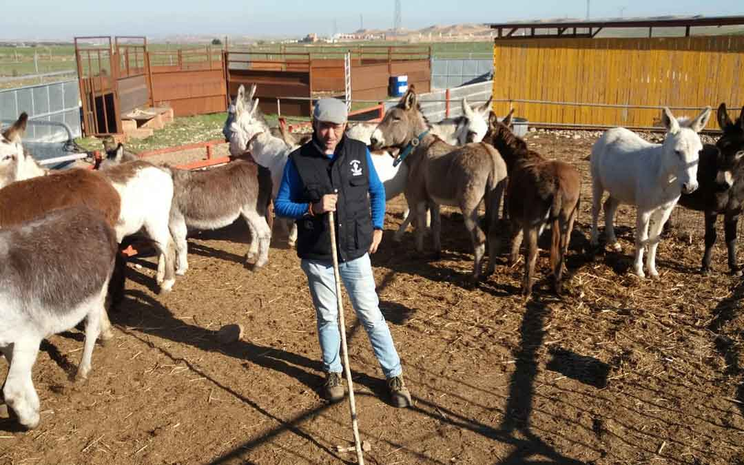 Jaime Serrano con sus burros