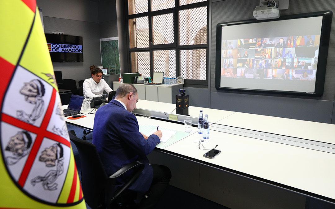 Lambán este domingo en la videoconferencia con el presidente