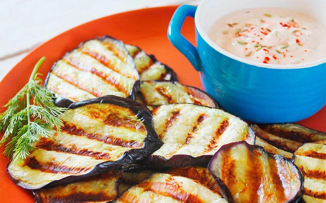 Berenjenas con salsa de yogur y especias