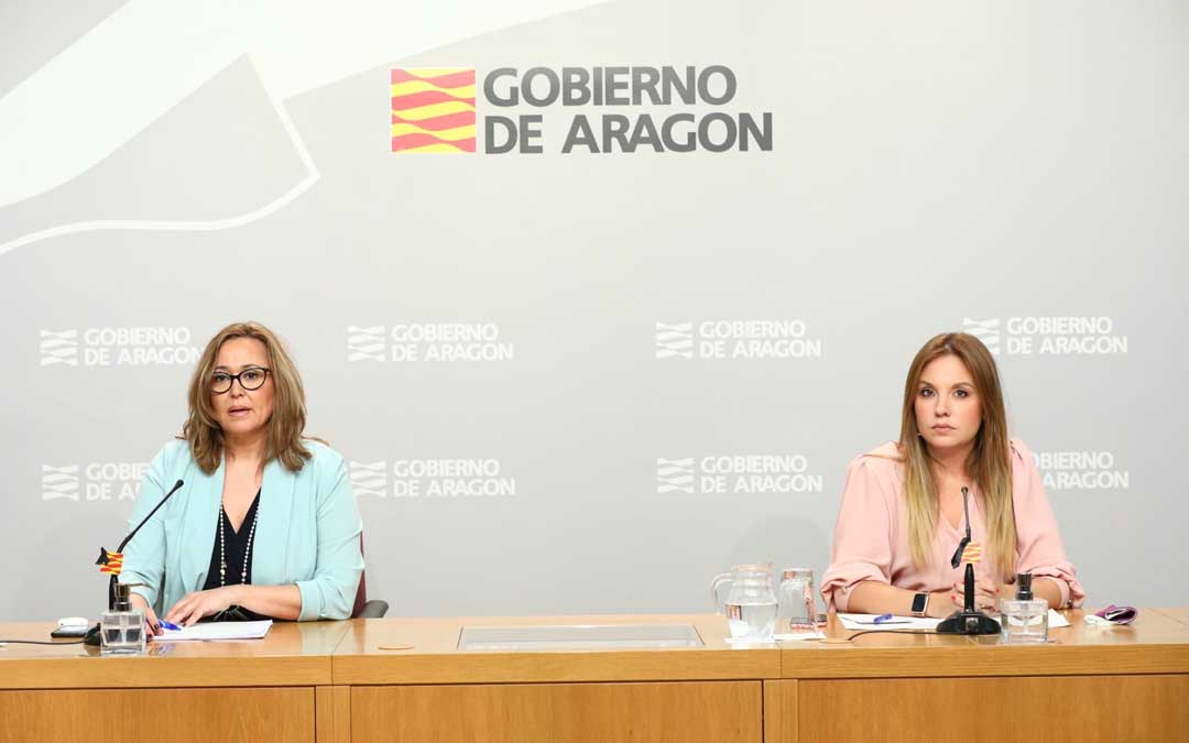 Las consejeras Mayte Pérez y Maru Díaz este miércoles en la rueda de prensa posterior al Consejo de Gobierno / DGA