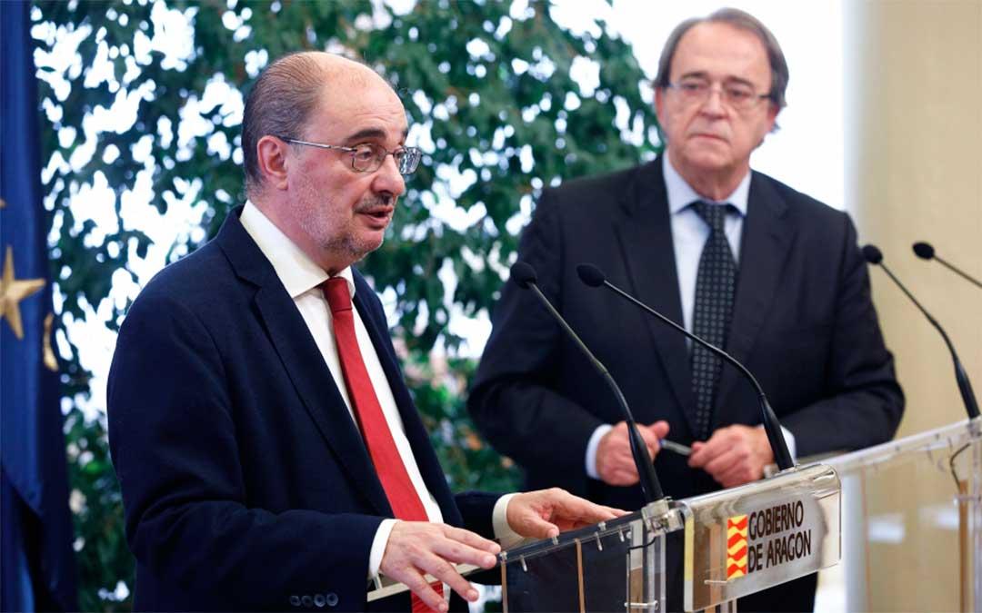 El Presidente de Aragón, Javier Lambán, comparece en rueda de prensa para dar cuenta de algunos acuerdos adoptados en el Consejo de Gobierno y asuntos de interés general de la Comunidad./ DGA-Luis Correas