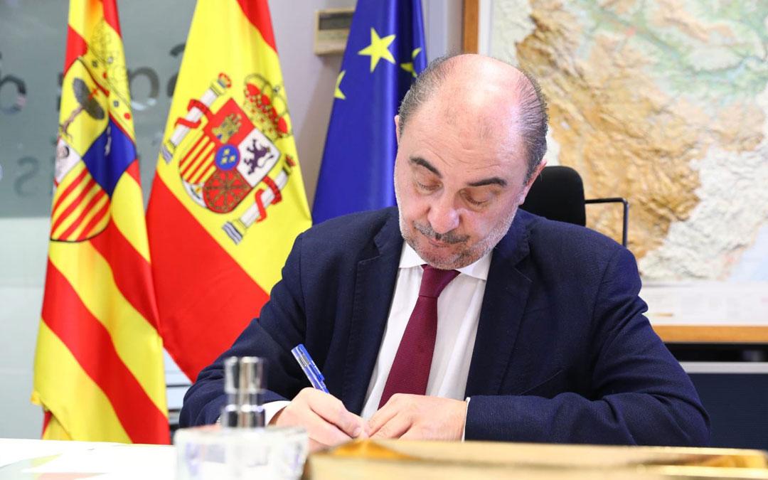 Javier Lambán, en un momento de la conferencia de presidentes sobre el coronavirus. / DGA