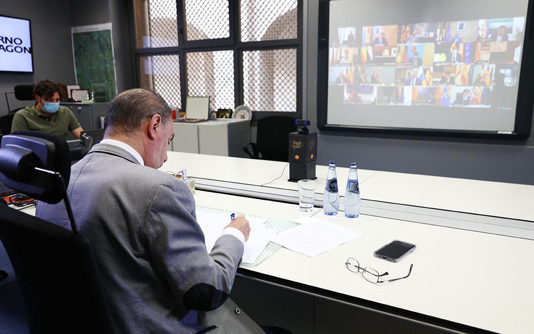 Lambán en la videoconferencia de presidentes de este 7 de junio de 2020