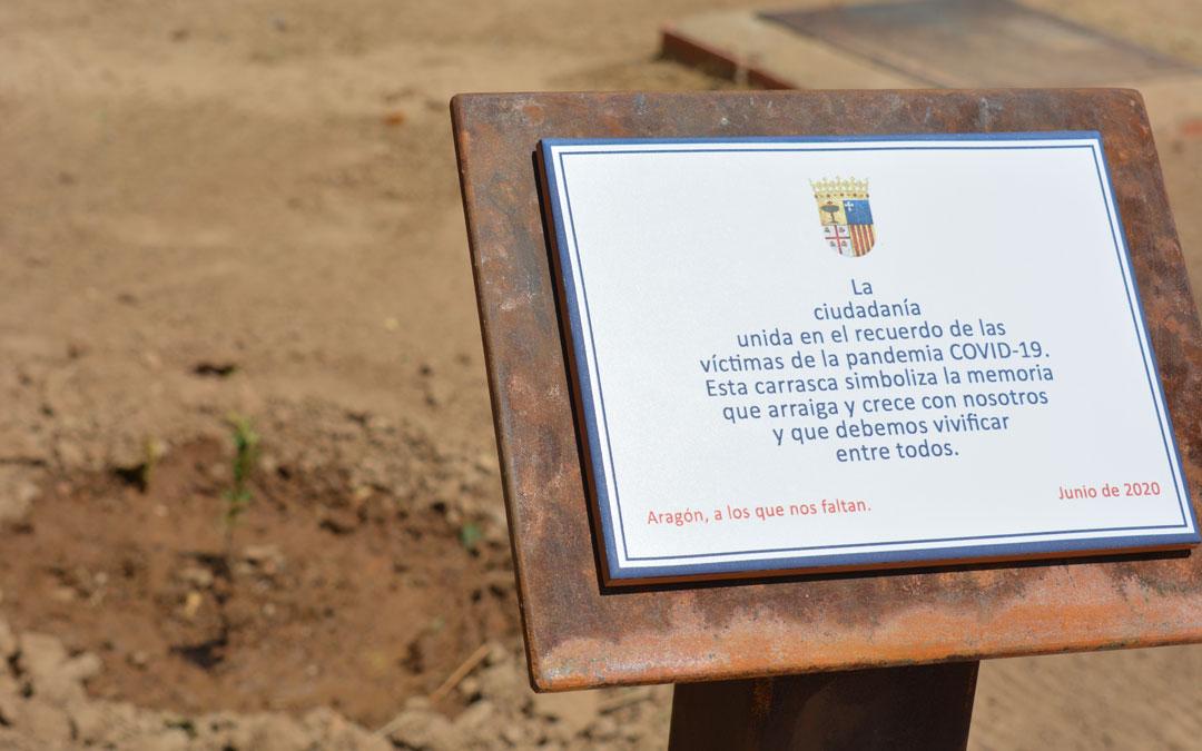 Placa colocada en Alcañiz en memoria y recuerdo de las víctimas del Covid./I.M.