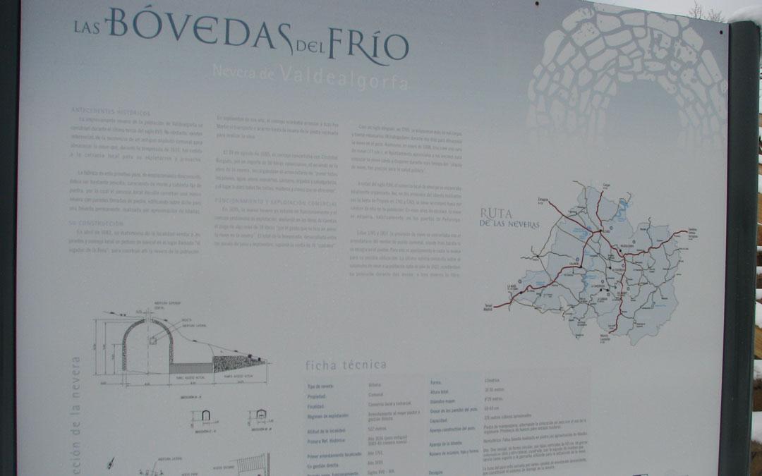 Cartelería en la Nevera de Valdealgorfa incluida en la Ruta de las Bóvedas del Frío de la Comarca del Bajo Aragón.