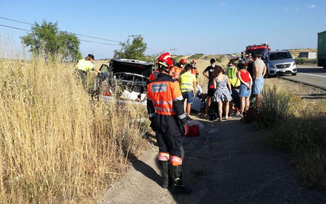 Accidente en La Puebla de Valverde al que acudieron los Bomberos de Teruel