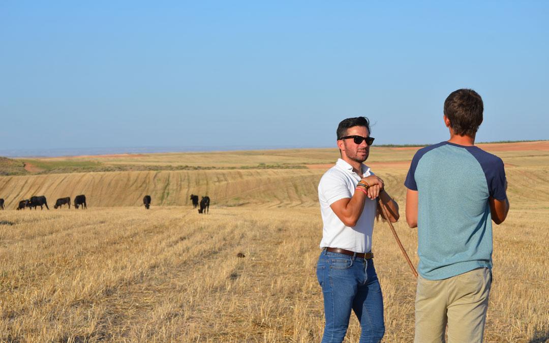 Imanol Sánchez, con el ganadero joven emprendedor albalatino en la explotación de Codo para el reportaje. / La casa del toro