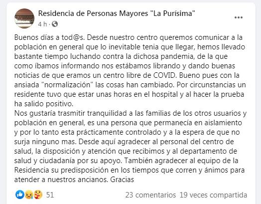 Comunicado de la dirección de la residencia La Purísima en redes sociales sobre el caso covid-19.