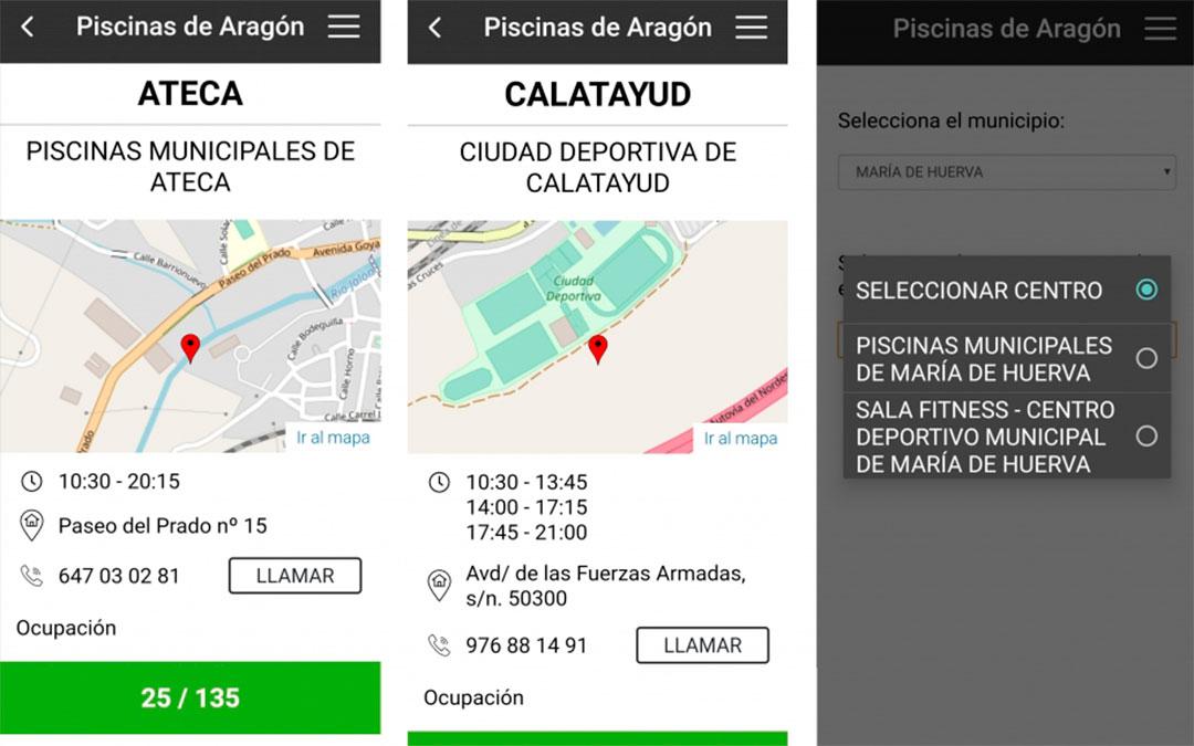 Tres ejemplos de instalaciones municipales que hay en la aplicación Piscinas Aragón./ DGA