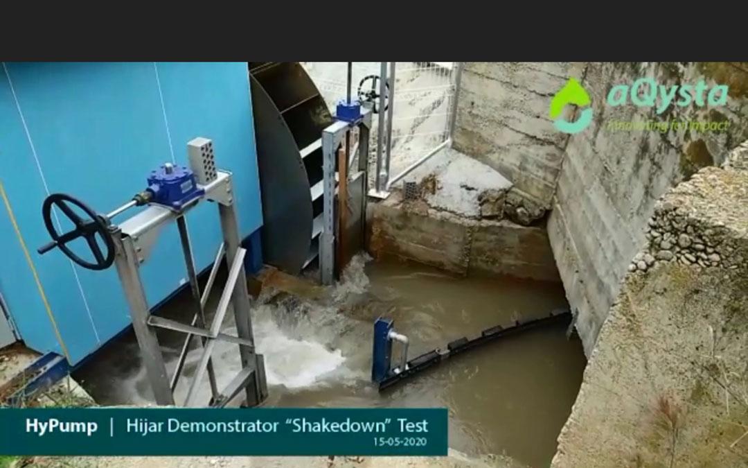 Bomba hidropropulsada en el regadío de Híjar.