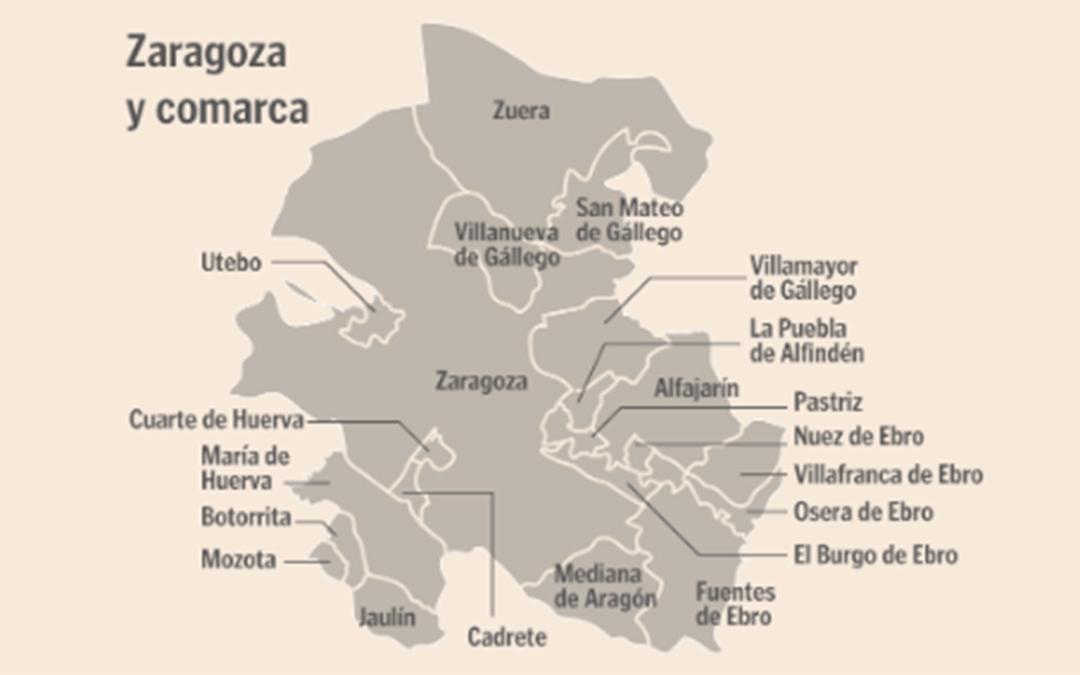 Municipios de la Comarca Central de la provincia de Zaragoza./ Heraldo de Aragón
