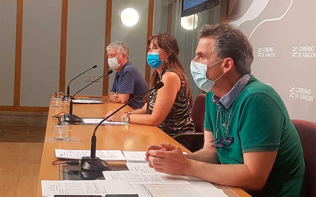 Marión, Repollés y Falo, en la rueda de prensa de este jueves./ DGA