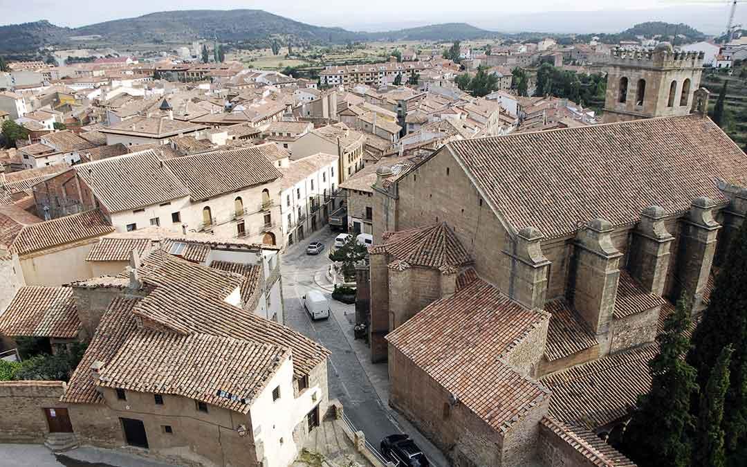Imagen aérea de la iglesia de Mora de Rubielos./ Ayto. Mora de Rubielos