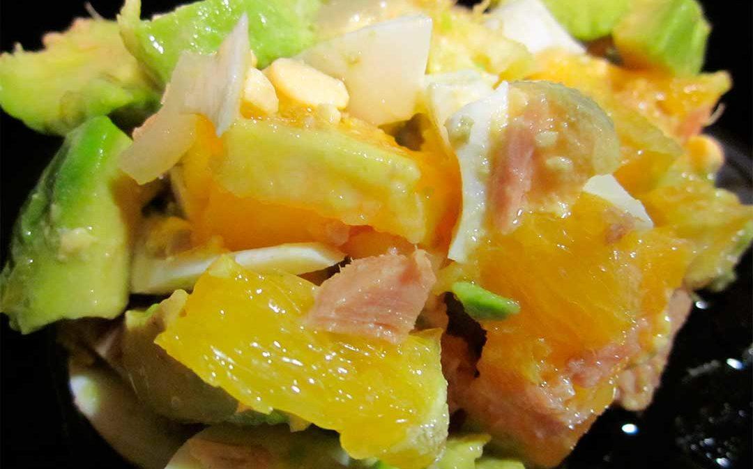 Ensalada de naranja y aguacate con aceite del Bajo Aragón