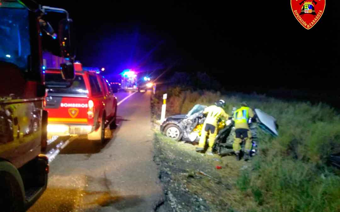 Imagen del accidente del domingo por la noche. Fuente: Bomberos de DPZ