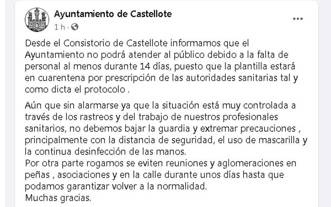 El Ayuntamiento de Castellote ha informado a través de su perfil de Facebook