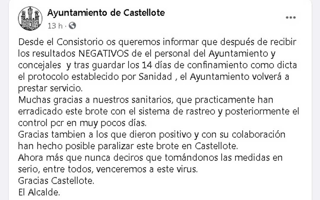 Comunicado del Ayuntamiento de Castellote en su perfil oficial de Facebook