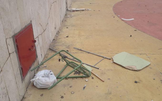 Utrillas denuncia numerosos destrozos en el anfiteatro y la quema de varios contenedores