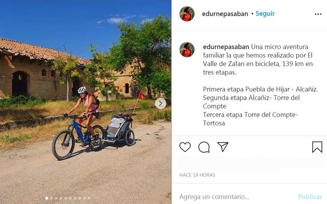 Publicación de Edurne Pasaban en su perfil de Instagram, en el que cuenta con más de 27.800 seguidores