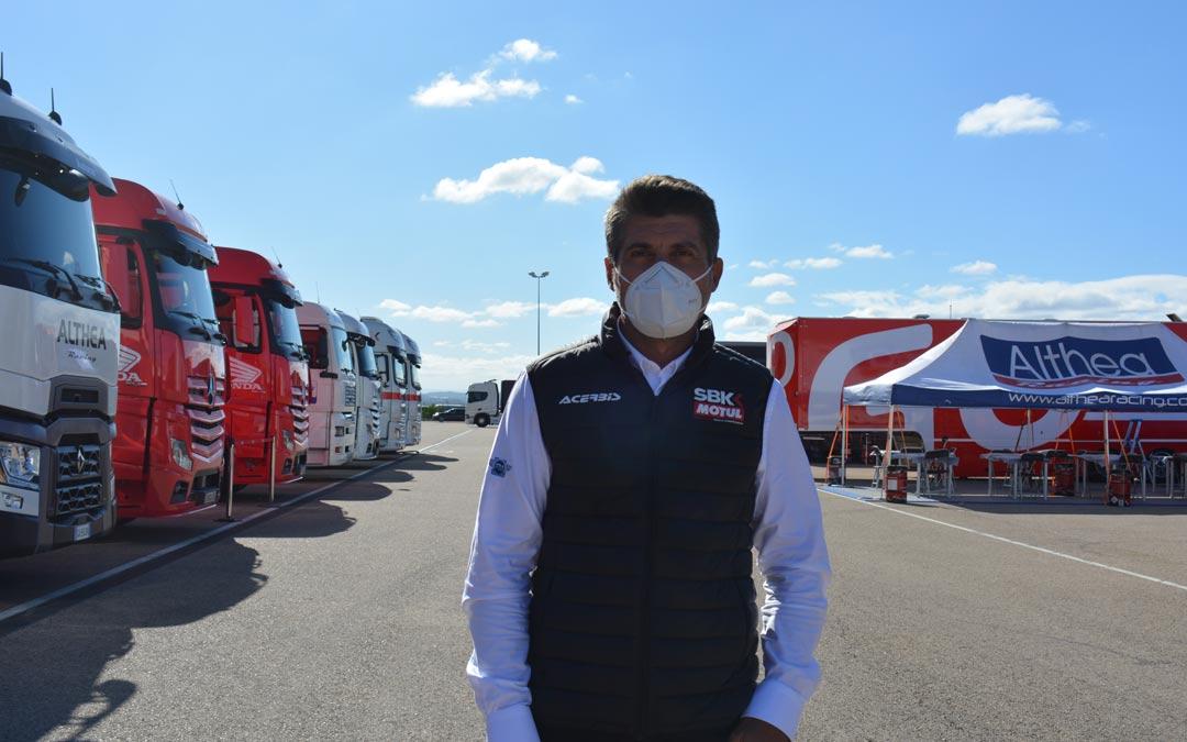 Gregorio Lavilla en Motorland Aragón durante la cuarta cita del Mundial de Superbikes./ I.M.