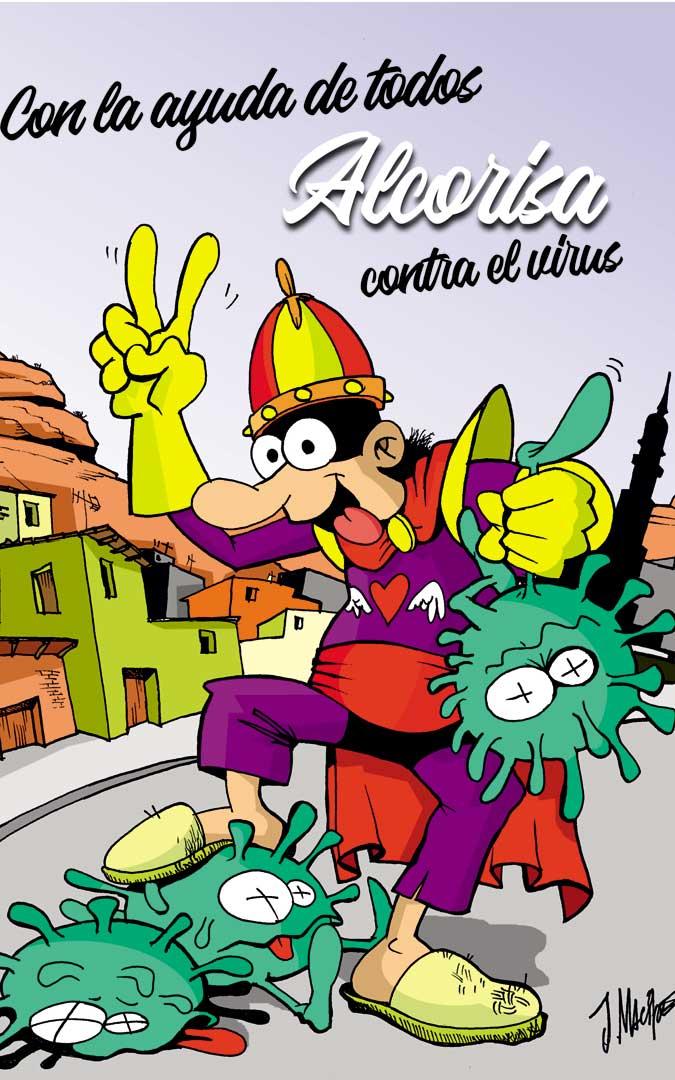 Ilustración para la publicación 'Balcei' de Alcorisa de ánimo para vencer al coronavirus. / Joaquín Macipe