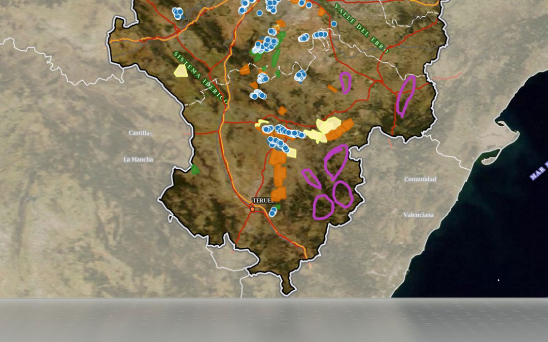Mapa de la masificación de proyectos eólicos que vaticinan en la Plataforma según los presentados hasta ahora. / Plataforma a Favor de los Paisajes de Teruel