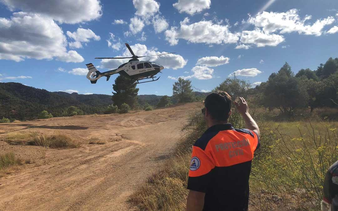 Rescate en helicóptero en Beceite./Protección Civil Matarraña
