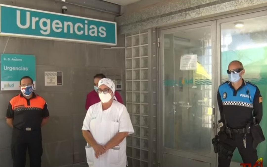 Comparencia pública este martes de Ana García, enfermera del Centro de Salud; y de Antonio Amador, alcalde de Andorra junto a Policía Local, Guardia Civil y Protección Civil / Youtube Tvla