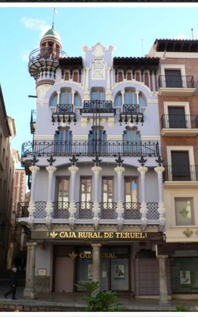 La sede de Caja Rural de Teruel en la ciudad lleva el sello del arquitecto. / Archivo personal A. Cañada