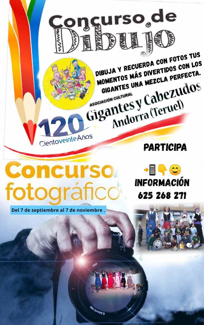 Cartel de los concursos organizados por la Comparsa de Gigantes y Cabezudos de Andorra./LA COMARCA