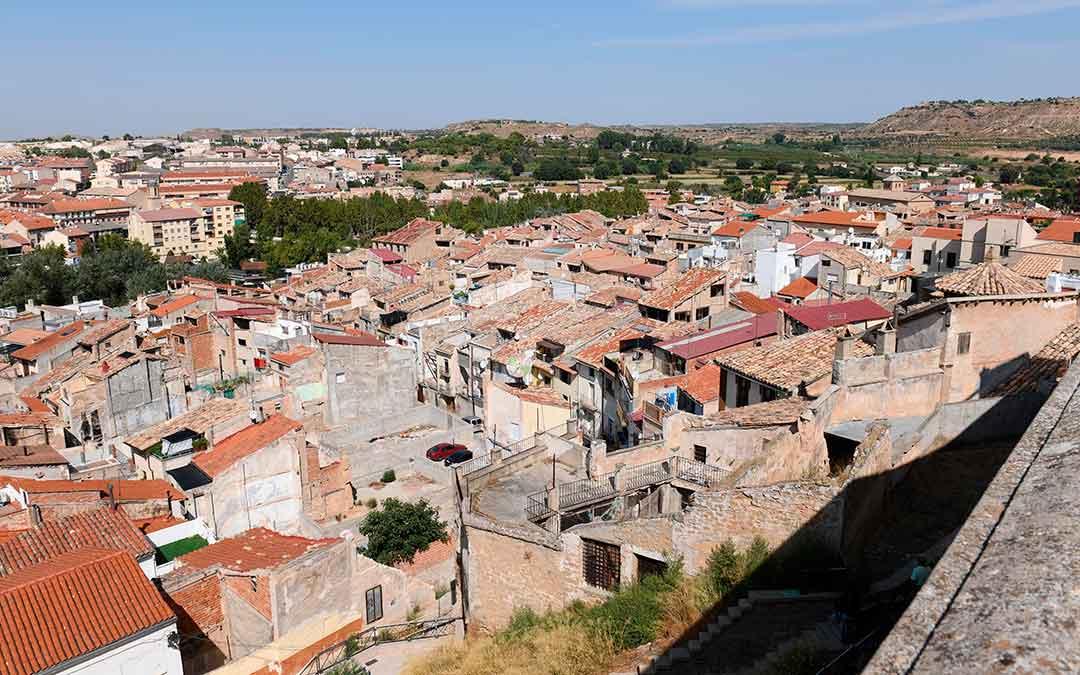 Imagen aérea del casco antiguo de Alcañiz.