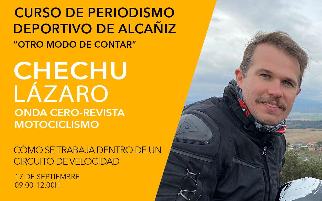 Chechu Lázaro. Curso de periodismo deportivo de Alcañiz./ L.C.
