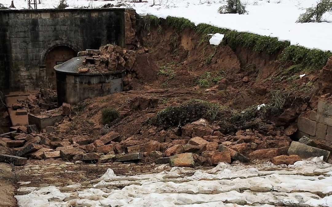 Estado en el que quedó la Font de la Barra a finales de enero tras la borrasca Gloria.