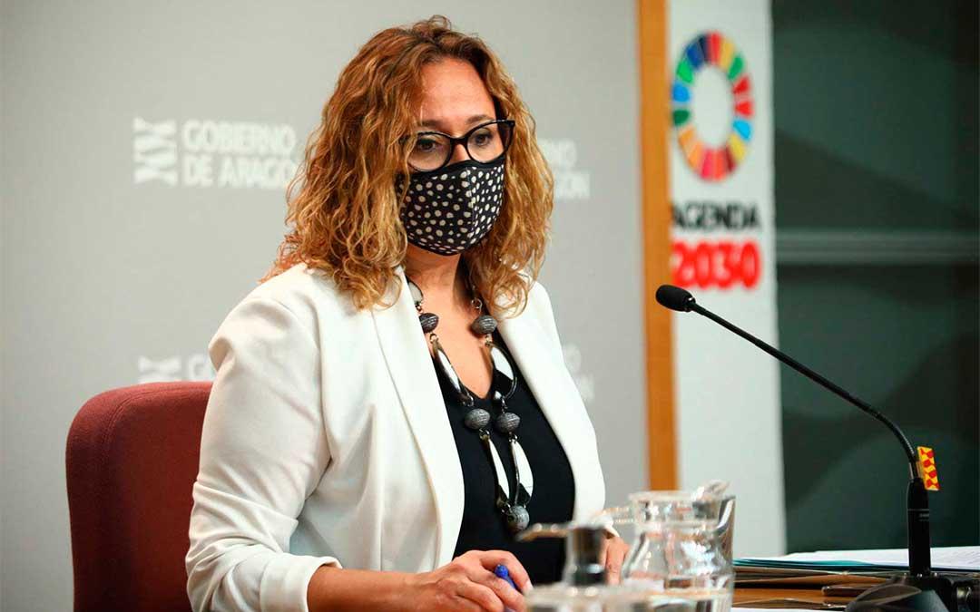 La consejera de presidencia, Mayte Pérez, en rueda de prensa. / DGA