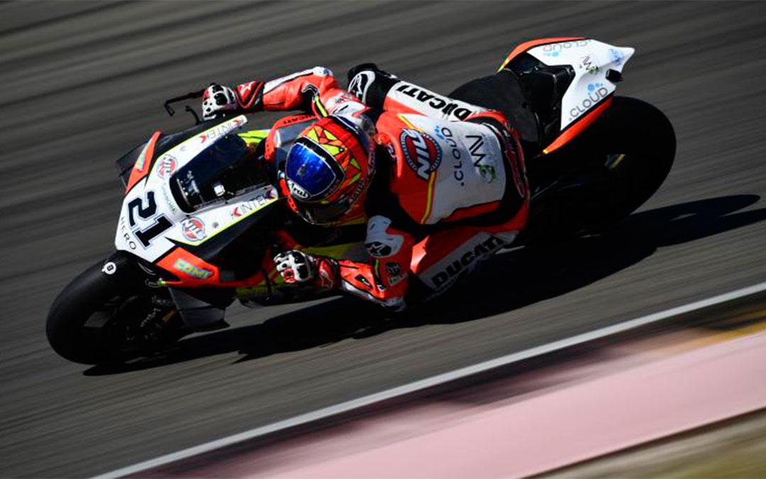 El piloto italiano de SBK, Michael Rinaldi en los entrenamientos de este viernes en Motorland Aragón./ Motorland