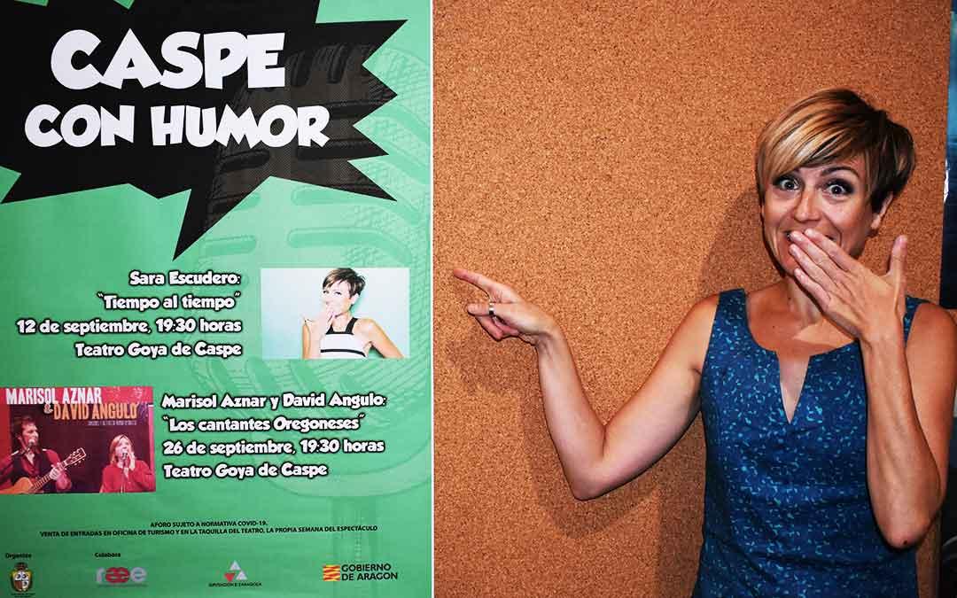 La actriz y cómica Sara Escudero en el Teatro Goya de Caspe, antes de salir al escenario.