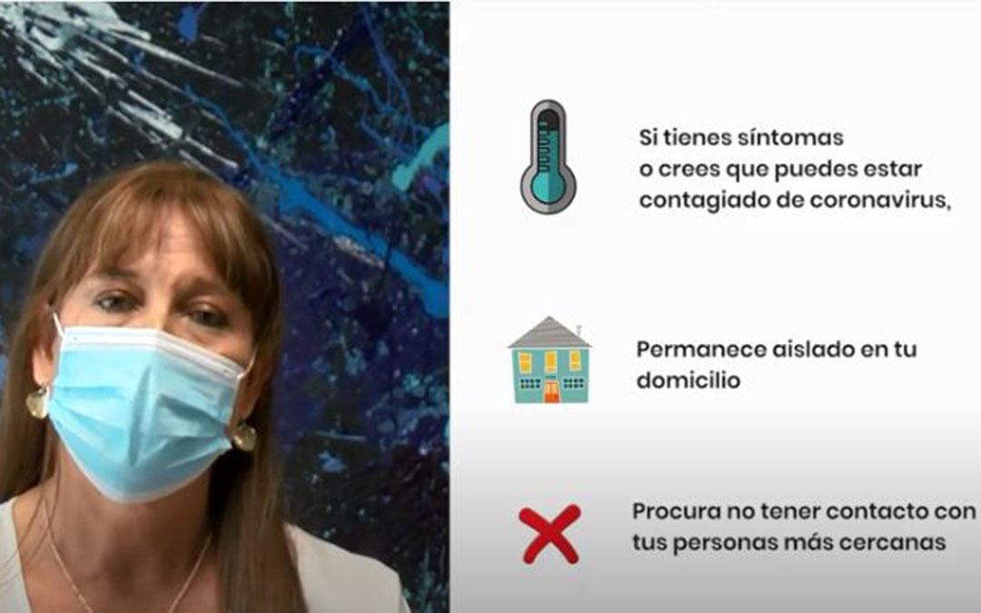 La consejera de Sanidad, Sira Repollés, en uno de los vídeos sobre la necesidad de aislamiento en caso de ser positivos de Covid-19./ YouTube Gobierno de Aragón