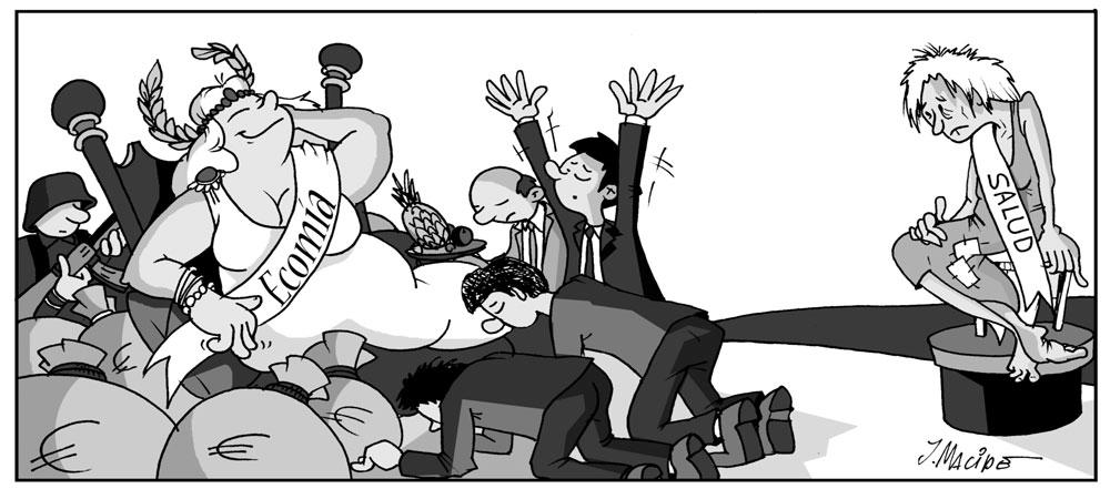 Humor gráfico coronavirus economía - salud