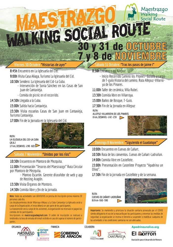 CANCELADO. MAESTRAZGO WALKING SOCIAL ROUTE