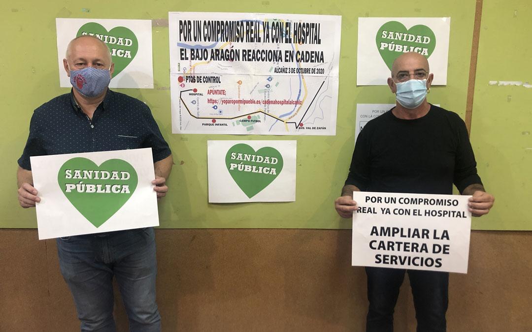 Antonio Saz, de la plataforma de la España Vaciada; y Javier Jaén, miembro de la Plataforma en Defensa de los Servicios Públicos y los Derechos Sociales, este jueves en rueda de prensa / L. Castel