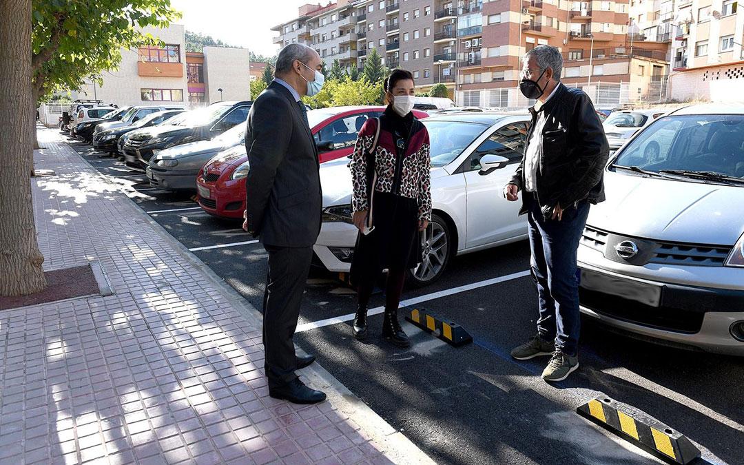 Baigorri, Milián y Lahoz este viernes en el parking de Andrés Vives