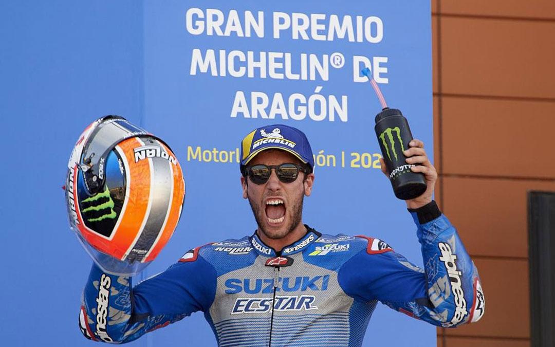 Rins en el podio del Gran Premio Michelin de Aragón. /Motorland Aragón