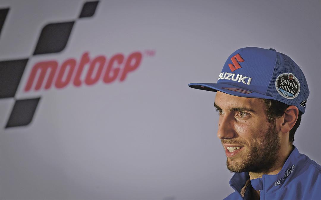 El piloto Álex Rins en la rueda de prensa previa al Gran Premio de Teruel./ MotoGP