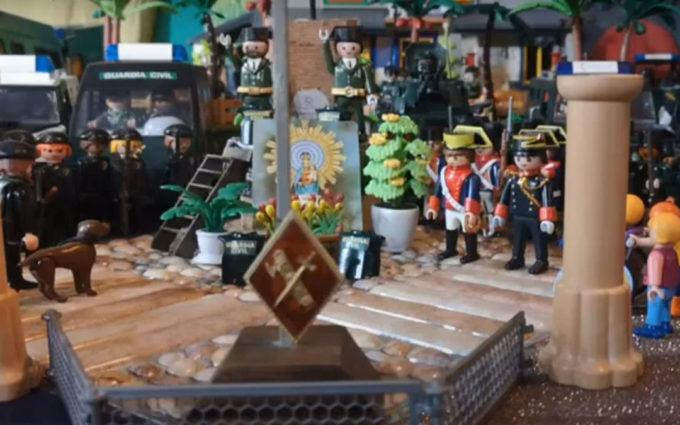 Homenaje a las víctimas del triple crimen en el día del Pilar con una maqueta de Playmobil