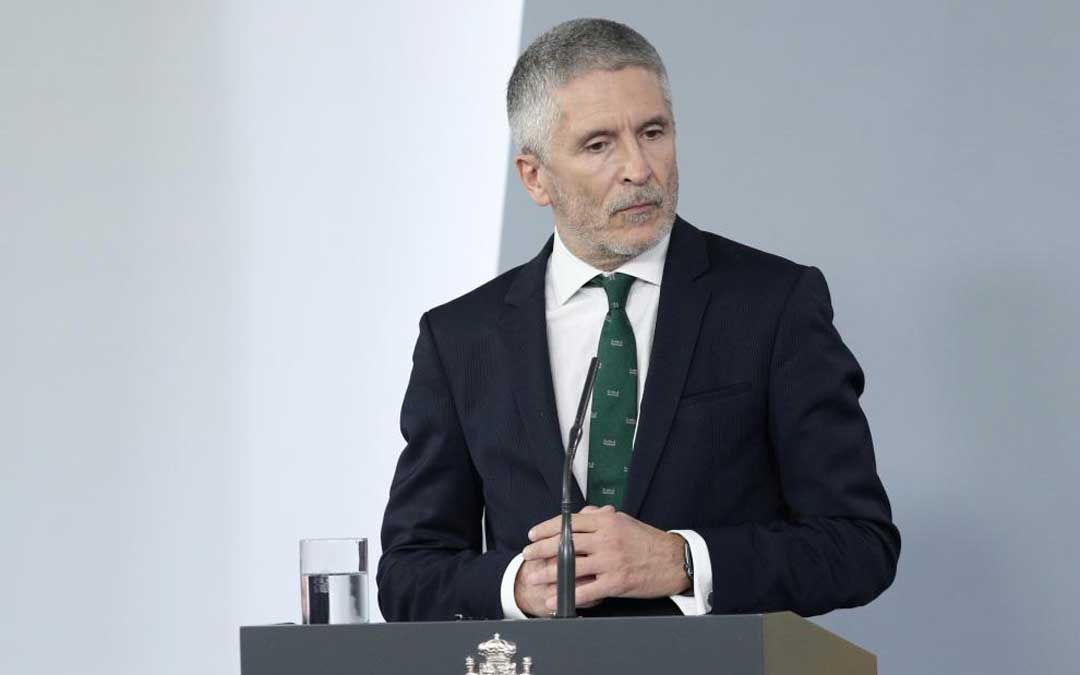 El ministro del Interior, Fernando Grande-Marlaska, en rueda de prensa en La Moncloa