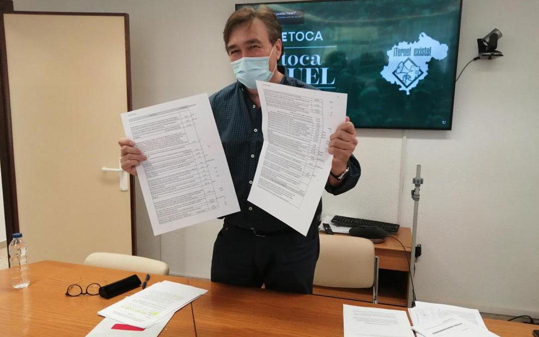 Tomás Guitarte este martes en la rueda de prensa en Teruel /HERALDO