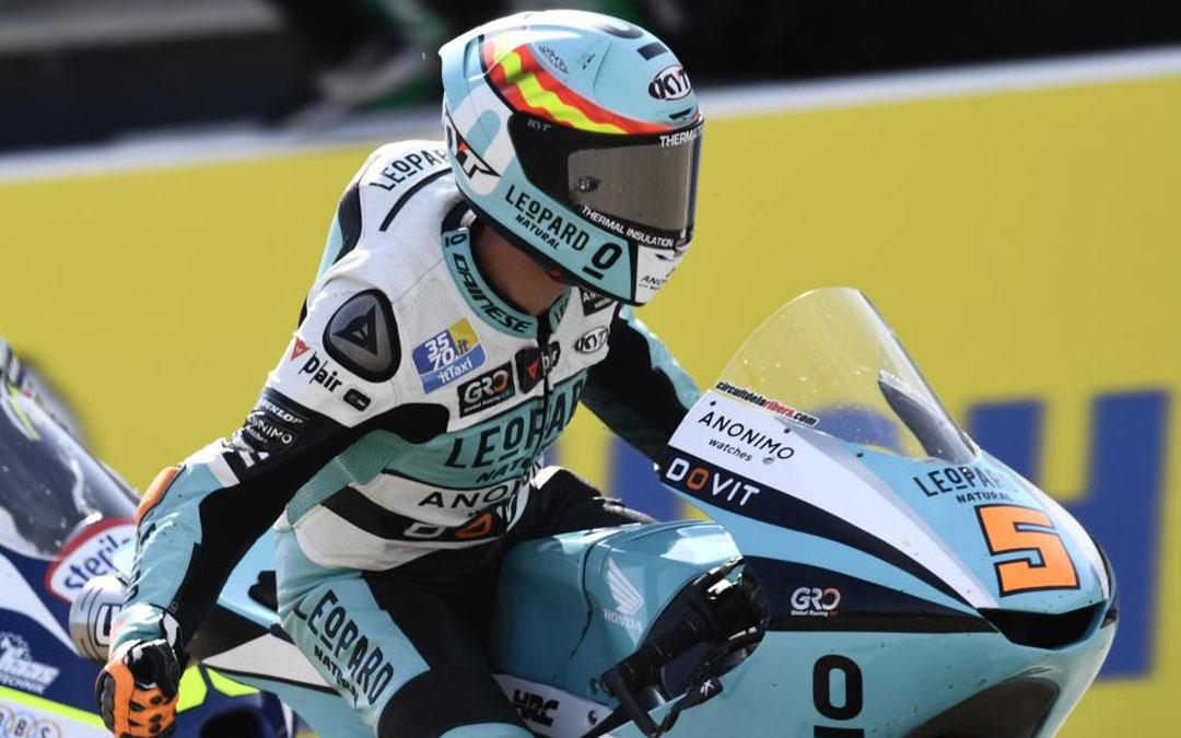 Jaume Masià sobre su moto este domingo en el trabajo bajoaragonés./ Motorland Aragón