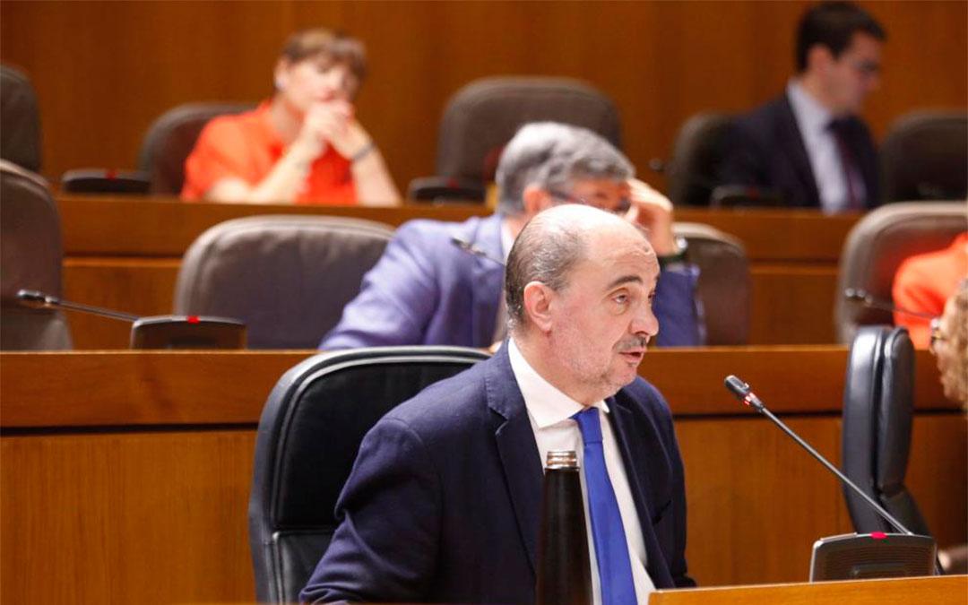 Javier Lambán, en las Cortes./ Cortes de Aragón