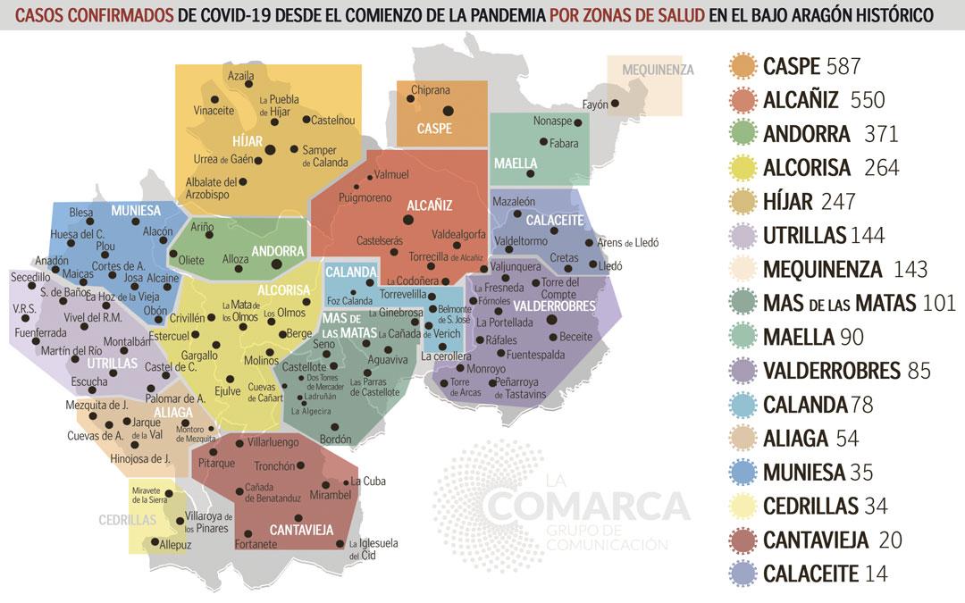 Mapa de los casos acumulados desde el comienzo de la pandemia / Jorge Pérez-La Comarca
